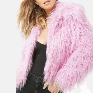NWT Forever 21 Pink Shaggy Faux Fur Jacket Coat S